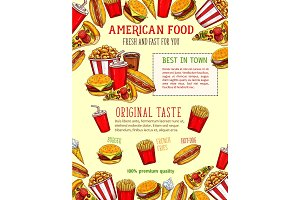 Fast food vector sketch poster of fastfood snacks