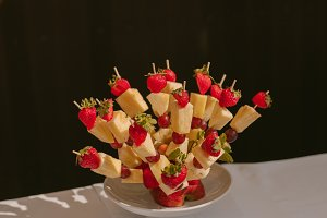 Canape of fruit on a skewer