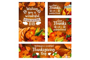 Thanksgiving Day greeting card template set