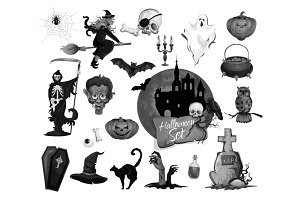 Vector scary icons for Halloween party holiday