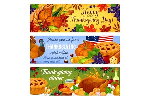 Thanksgiving day vector American banners