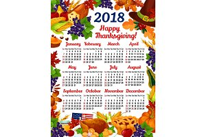 Thanksgiving day vector calendar 2018