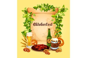 Vector beer poster for Oktoberfest German festival
