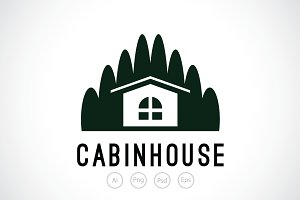 Wood Cabin House Logo Template
