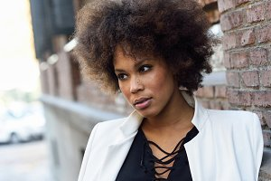 Urban black woman afro hairstyle
