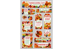 Thanksgiving Day, autumn harvest holiday tag set