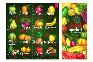 Vector price banners of tropical exotic fruits