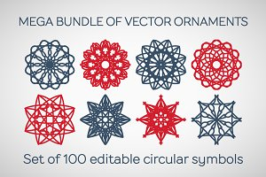 100 Editable Vector Ornaments