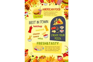 Fast food vector poster of fastfood meals