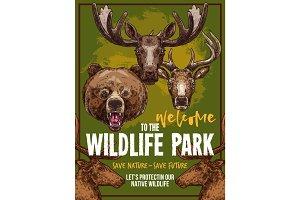 Wild animals vector zoo sketch wildlife poster