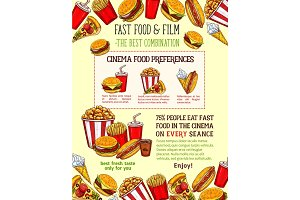 Fast food snacks vector sketch fastfood meals