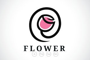 Rose Mail Flower Logo Template