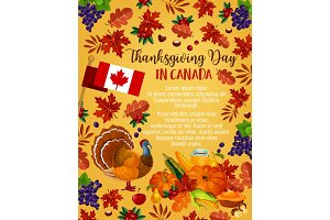 Thanksgiving day vector Canadian greeting poster