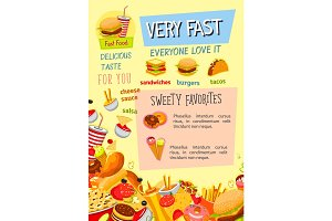 Fast food restaurant menu vector poster