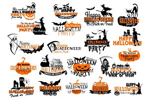Vector icons for Happy Halloween holiday party