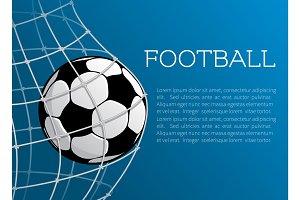 Vector football ball poster of soccer championship