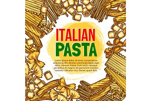 Pasta and Italian macaroni vector sketch poster