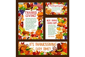 Thanksgiving Day greeting banner template set