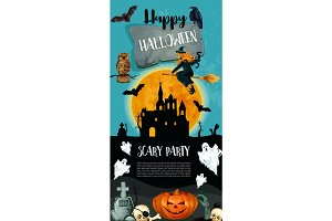 Halloween holiday trick treat vector party poster