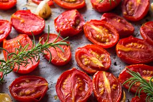Red heirloom tomatoes baked with garlic