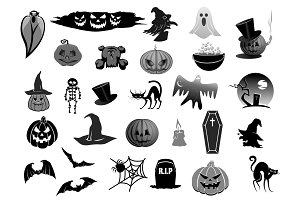 Vector isolated icons for Halloween holiday party