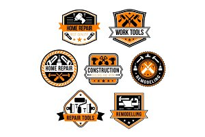 Vector work tools for home repair icons set