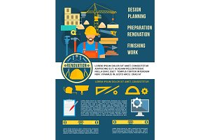 Vector poster home design planning work tools