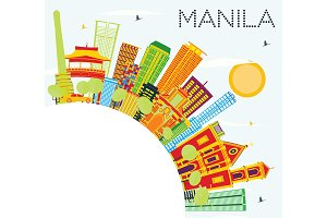 Manila Skyline with Color Buildings