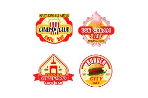Fast food cinema bistro snacks vector iocns