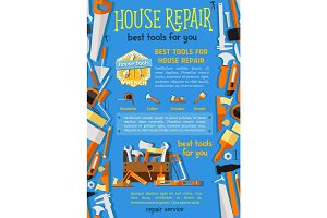 Vector work tools for house repair poster