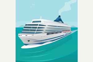 Cruise liner cuts through the waves in open sea