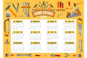 Vector calendar 2018 template of work tools