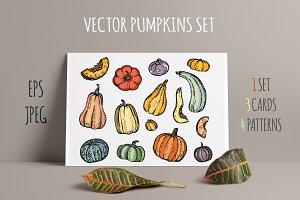 Vector Hand Drawn Pumpkins