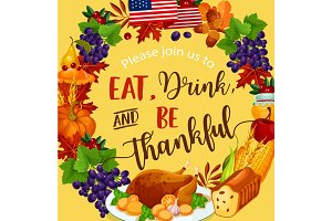 Thanksgiving day vector harvest greeting poster