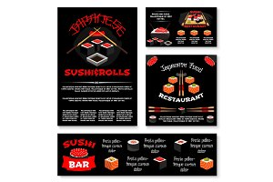 Vector templates for Japanese sushi restaurant