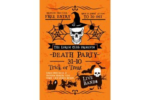 Halloween holiday poster with skull in witch hat