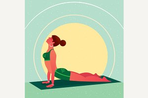 Girl lies in Yoga Cobra Pose or Bhujangasana