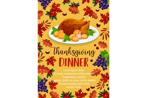 Thanksgiving day vector dinner invitation poster