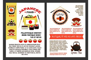 Vector menu poster for Japanese sushi food