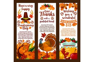 Happy Thanksgiving banner set of autumn holiday