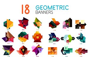 Set of abstract geometric shapes and icons