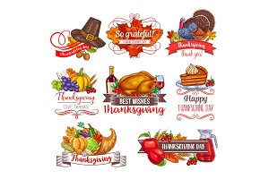 Thanksgiving day vector greeting sketch icons