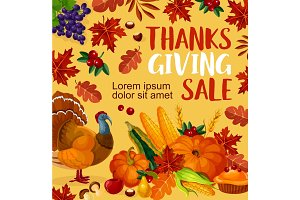 Thanksgiving day vector sale poster