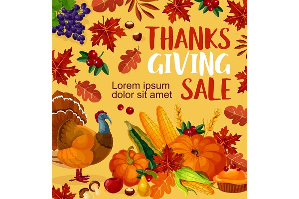 Thanksgiving Day Vector Sale Poster Pre Designed Illustrator Graphics Creative Market