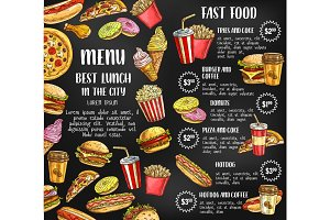Fast food restaurant menu vector sketch poster