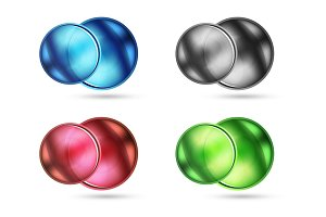 Set of blank matte glass glossy sphere circles