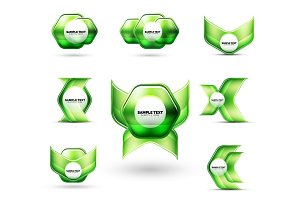 Glass metallic glossy shiny abstract techno shapes for your message or business presentation elements
