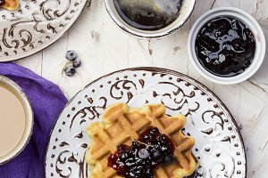 Breakfast with Belgian waffles