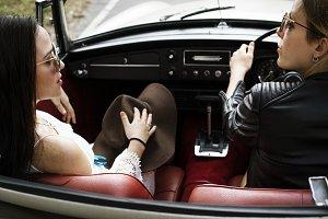 Couple enjoy car ride