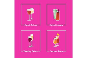 Alcohol Drinks and Cocktails for Wedding and Party